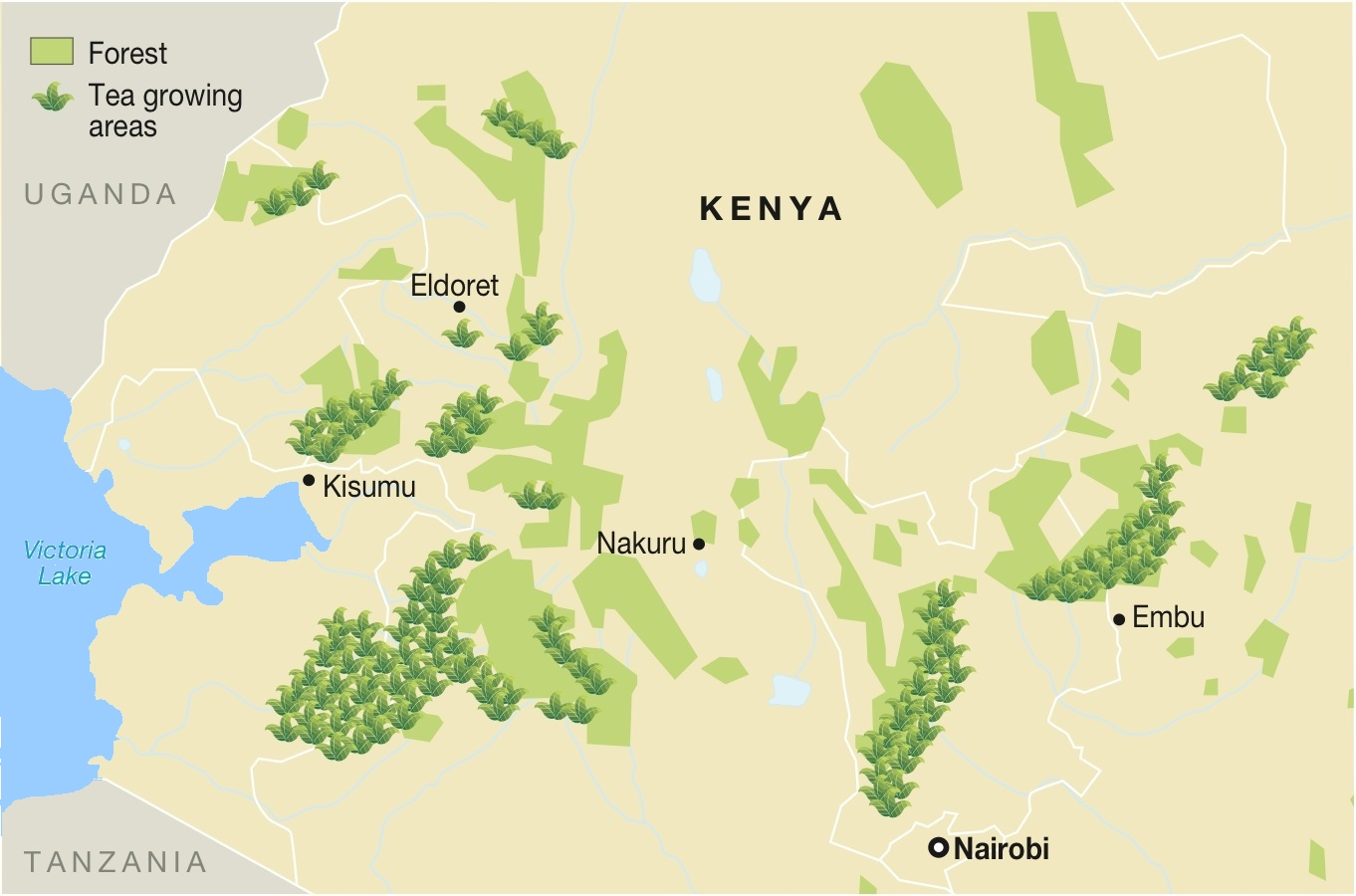 Map of Tea Production in Kenya