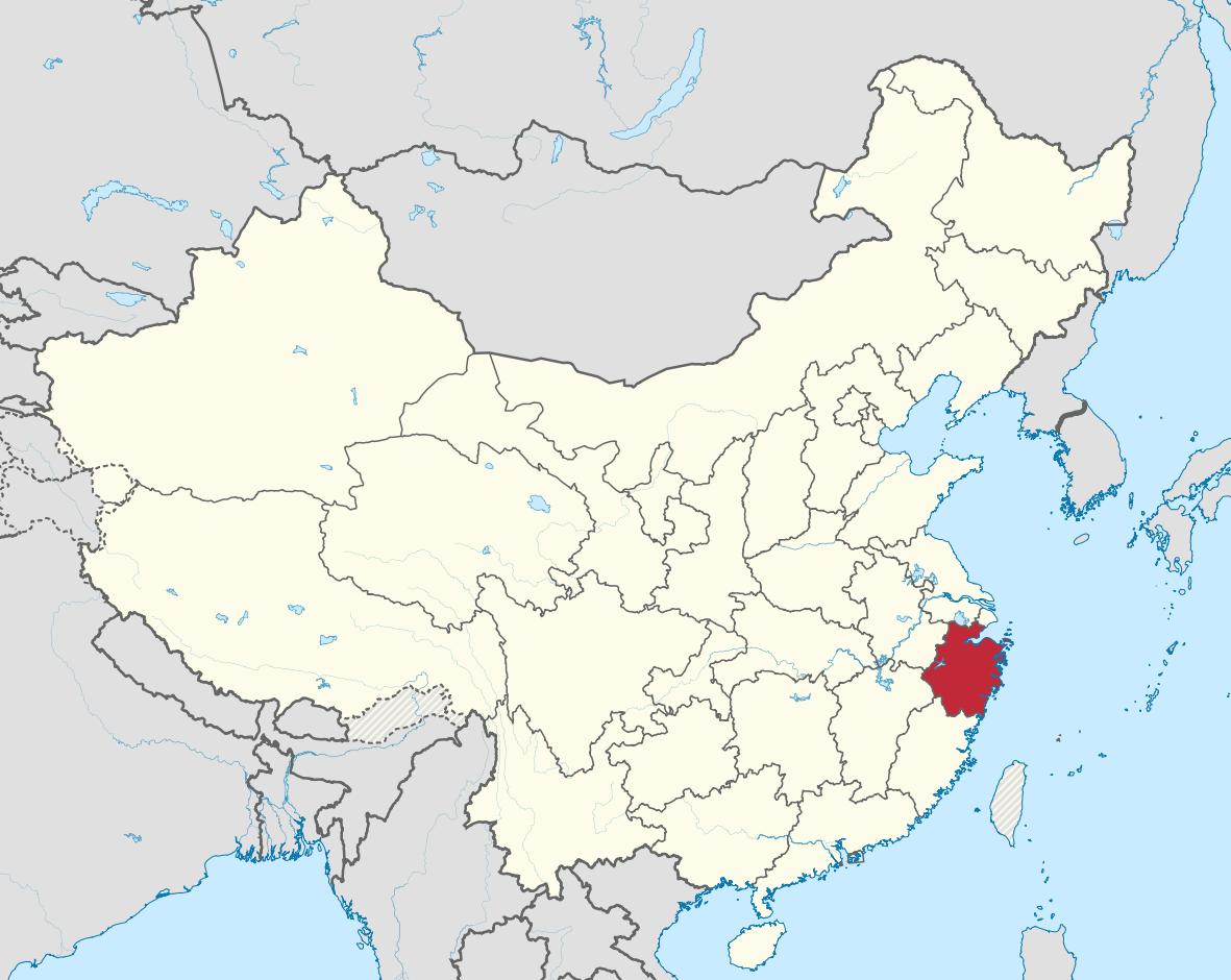 Map showing Zhejiang China where Dragonwell Tea originates.