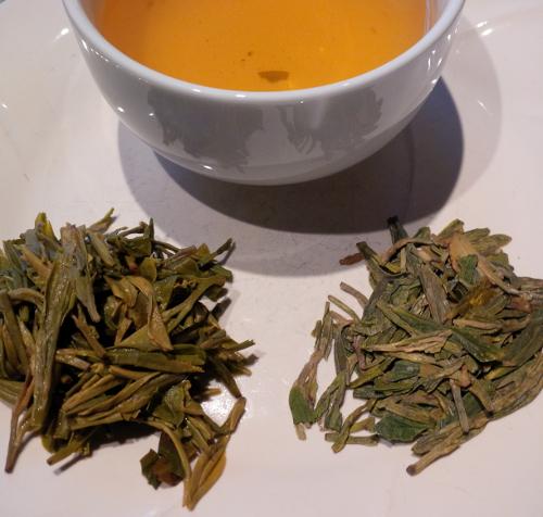 Photo of Dragonwell Tea, its leaves and liquor.