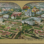Print on stereo card of 1904 World's Fair where ice tea was rumored to have been invented.