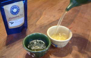 Green tea poured from a Japanese  yokode kyusu.