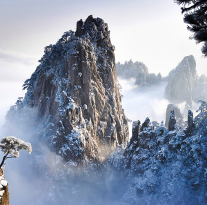 Snow covered and jagged peak of Huangshan Mountain, Anhui Province