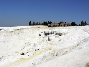Pamukkale Travertines of Turkey. Water quality for tea is a measure of disolved solids. In this case lots of calcium formed the travertines.