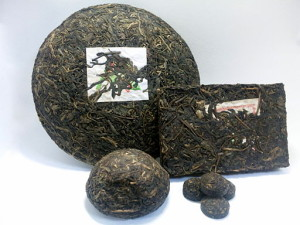 Sheng and Shu Puerh is pressed in various shapes for storage and shipping.