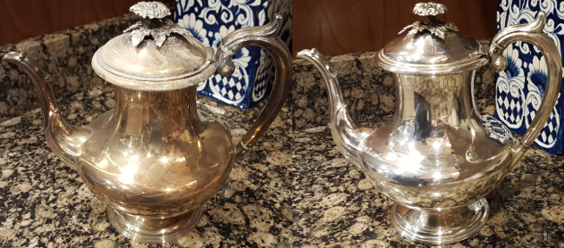 Before and after photos of tarnished followed by clean silver pots.