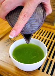 Bright green infused liquor from shincha.