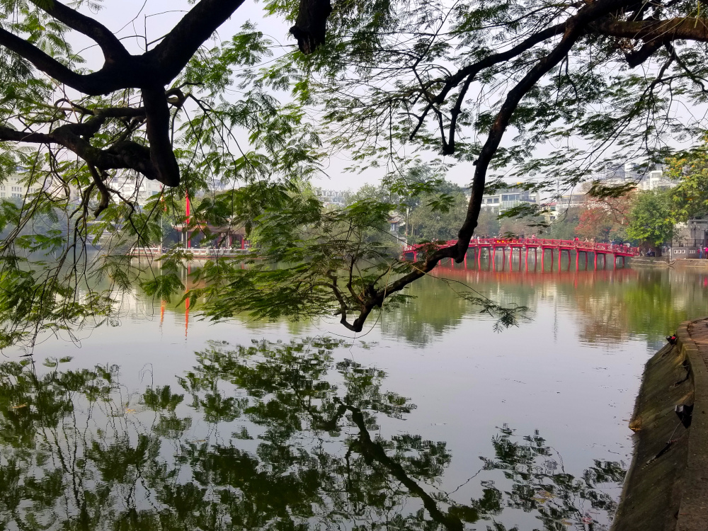 Lake of the Returned Sword in downtown Hanoi, Vietnam facing Ngoc Son Temple.